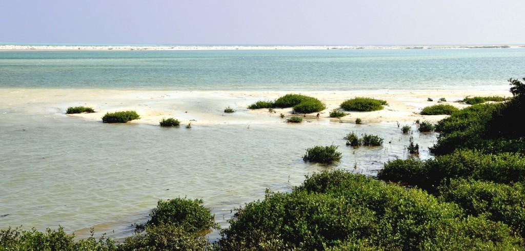 Die große Lagune von Al Jazir bietet beste Bedingungen für Kiteboarding / Kitesurfing in der Region Dhofar bei Salalah