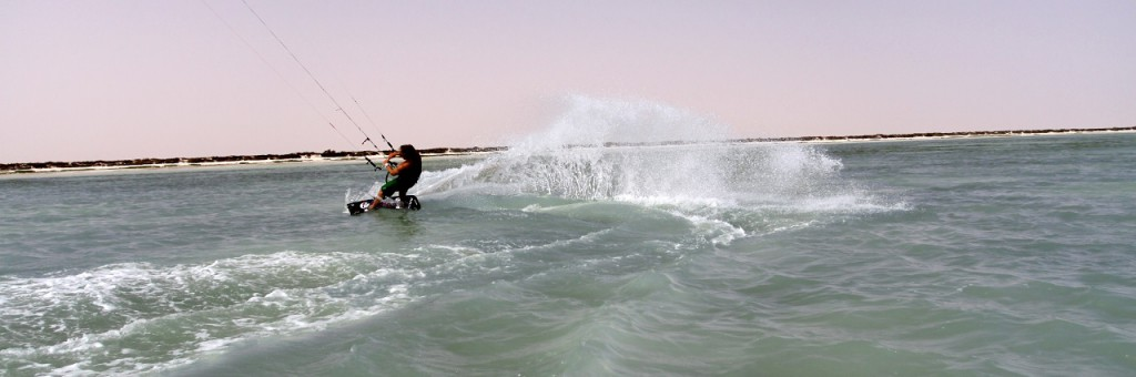Julian Hosp shows his Kiteboarding / Kitesurfing skills at the Great Lagoon of Al Jazir in the Region Dhofar Region.